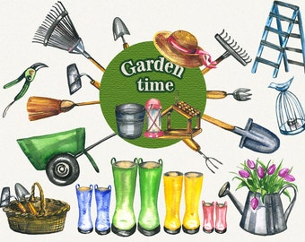 Garden clipart, spring clipart, garden tools, watercolor garden tools, Hand Painted, clip art, digital watercolor
