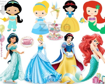 175 Disney Princesses N Baby Princess Clipart, Instant Download, 300DPI - Printable Iron On Transfer or Use as Clip Art - Princess Clipart