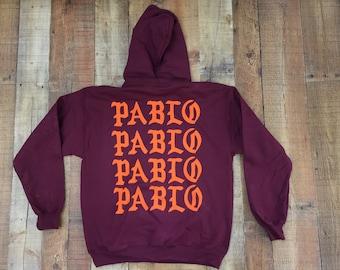 Pablo Pablo Pablo Pablo Hoodie, I Feel Like Pablo, Kanye West Hoodie (Orange-Print)