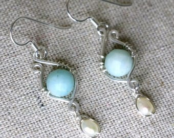 Blissful Dream Fresh Water Pearl Amazonite and Sterling Silver Earrings CLFE6