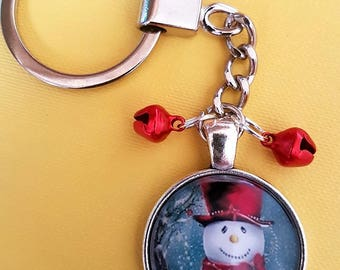 Snowman with Tiny Red Bells Glass Dome Cabochon Keychain Metal Effect