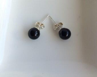 Black Agate 6 mm Gemstones and Sterling Silver Stud Earrngs.