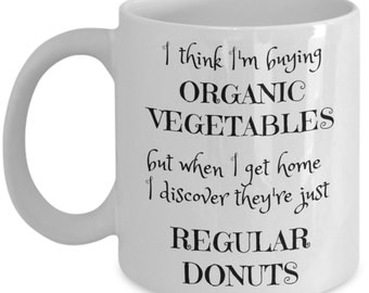 Funny Donut Coffee Mug - 11oz - Best Christmas Gift for Women, Men, Grandma, Grandpa, Coworker, Friend - Tea Cup