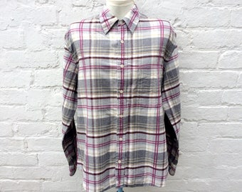 Women's flannel shirt, plaid top, oversized 90's fashion