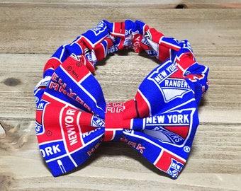 NY Rangers Headband; NY Rangers Bow; Baby Headbands; Baby Girl Headband; Baby Headband; Bow Headband; Newborn Headbands; Toddler Headband