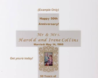 Personalized Anniversary Cross Lamp; Handmade Anniversary Gift; Personalized Cross; Anniversary Gift for Parents; Wedding Anniversary Cross