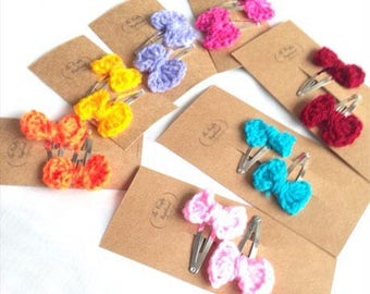 Handmade Crochet Hair Clips, Handmade Crochet Bow Hair Clips, Crochet Hair Clips, Crochet Bow Clips, Handmade Hair Accessories,