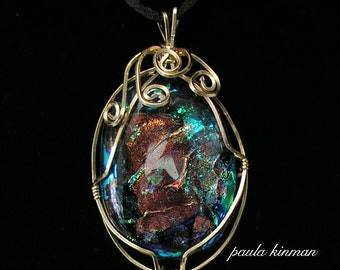 Wire-Wrapped Dichroic Glass Pendant  #160-2