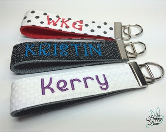 Personalized Keychains ~ Custom Embroidered Keychain ~ Monogram and Name Key Chains ~ Over the Wrist ~ Teacher's Gift ~ Gift for Mom ~ Women