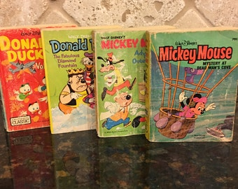 Four (4) Walt Disney BIG LITTLE BOOKS!  Mickey Adventure Outer Space, Donald Duck Diamond Fount, Mickey DeadMan Cove, Donald Duck Volcano