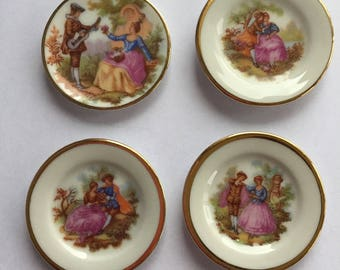 Limoges France - 4 Miniature Decorative Plates with Holders