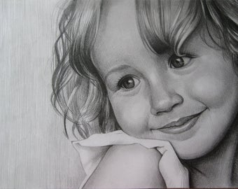 Custom Portrait, Realistic Portrait, Child Portrait, Pencil Portrait, Graphite Portrait, Personalize Portrait, Realistic Drawing, Portrait