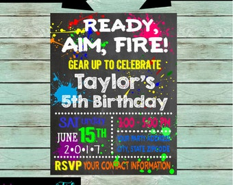 Paintball Paint Birthday Party Chalkboard Invitations Invites Personalized Custom ~ We Print and Mail to You