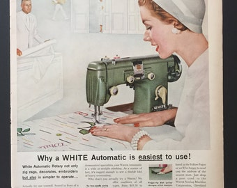 1956 White Automatic Rotary Sewing Machine in Green-Vintage Ad
