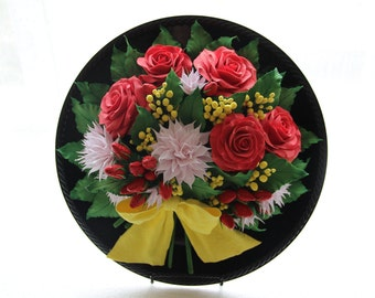 Decoclay flowers,Flower panel,Floral decor,Clay flowers,Flower arrangement,Art,Home Decor,Decorative plate,Home&living,Real touch roses