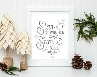 Holiday Printable, Christmas Printable, Festive Home Decor, Rustic Christmas Decor, Christmas Star, Holiday Home Decor, Xmas Decor