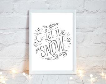 Let it Snow, Farmhouse Christmas Decor,  Festive Home Decor, Rustic Christmas Decor, Winter Holiday Sign, Xmas Decor, Instant Download