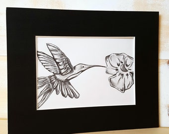 HUMMINGBIRD SKETCH,Hummingbird Drawing,Hummingbird Decor,Bird Art,Original Drawing,Original Bird Decor,Bird Decor,Hummingbird Pencil Sketch