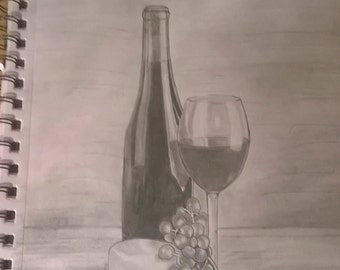 Still Life, Wine bottle, Cheese, Grapes, Wine glass, A4 print.