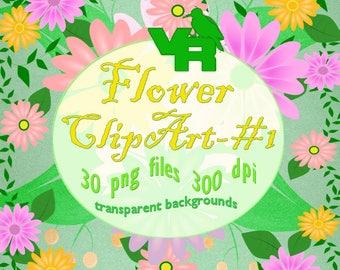 Floral Clipart Floral Clip Art Flower Clipart Flourish Clipart Floral Stickers Digital paper set - FL001