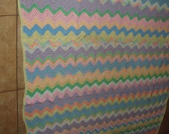 Easter Colors Pastel Zig Zag Hand Made Crochet Blanket Afghan - Large Size