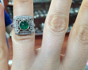 Art Deco Style Vintage Ring, Emerald and Diamond Ring, Emerald Ring Vintage