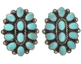 Turquoise Cluster Silver Post Earrings Old Pawn Indian Design