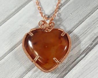 Hand Wire Wrapped Carnelian Heart Pendant