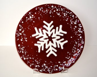 Fused Glass Plate, Fused Glass Tray, Snowflake Plate, Christmas Plate
