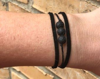Leather + Lava Stone Diffusing Bracelet