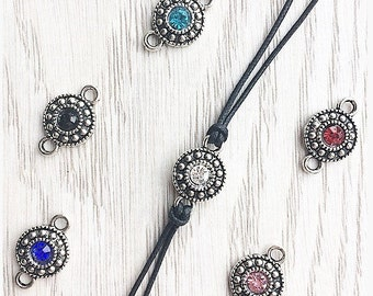 Silver white/black/red/blue/pink crystal charm choker necklace on black cotton cord / birthday gift / gift for her / gift fr women