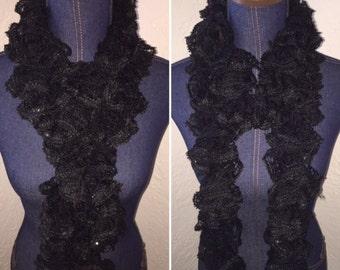 Handmade Crochet Ruffle Scarf - Black with sequins