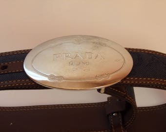 Vintage PRADA Belt/Denim and Leather Belt/Blue Denim and Brown Leather Belt/Silver Tone Buckle/ Made in Italy/Size 34