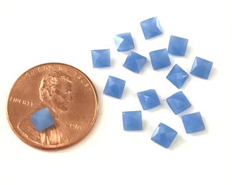 24 Vintage Periwinkle Blue Glass 4mm Square Rhinestones Unfoiled