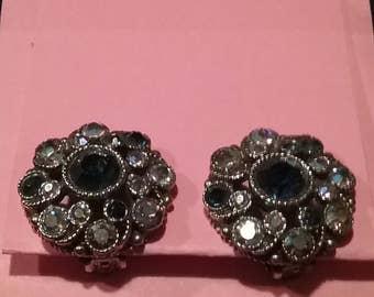 Vintage 1960s1970s Clipon earrings Rhinestones/Crystals