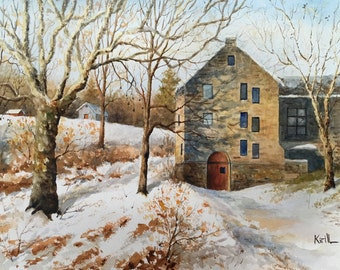Winter Thaw Painting, Old Church Winter Scenery, Watercolor Wall Art - Print