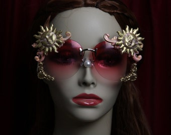 Baroque Rococo Pink Glass Embellished Sun Rococo Shades Sunglasses