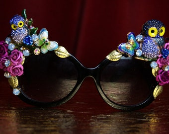 Baroque Rococo Owl Gold Leaf Embellished Butterfly   Shades Sunglasses