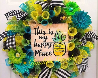 ready to SHIP! this is my happy place wreath, beach wreath, pineapple wreath, mesh wreath, summer wreath, pool wreath, summer decor