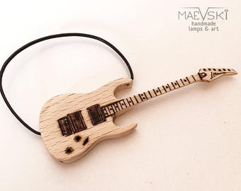 "Wooden guitar mini 3"", gift for musician, miniature home decor, homewarming wooden art, collectible guitar, music gift for him, guitar gift"