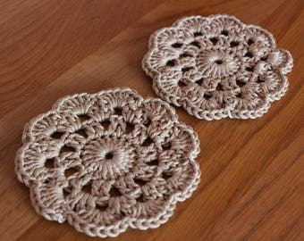 Pair of Crocheted Coasters – Taupe