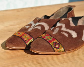 Leather loafers, leather flats, suede leather flats, suede loafers, brown leather flats, 80s leather flats, kilim shoes, leather flats