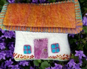 Handmade Felted Irish Cottage/ Scottish Croft/ Faerie Cottage Coin Purse Embellished with Hand Embroidery