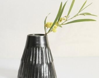 black carved vase, textured, handmade, ceramic, pottery, wheel thrown, glazed