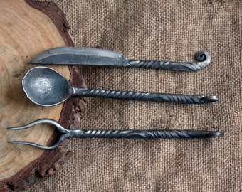 Forged dining set of 3 items. Spoon, Fork, Knife.