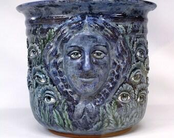 Ceramic Garden Pot Planter - Blue Lady with Eyes