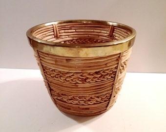 Vintage Woven Rattan and Brass Plant Pot Planter Basket
