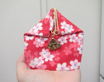 Coin purse, Triangle Coin purse, metal closure, unique coin purse,  Japanese style,Cherry blossoms