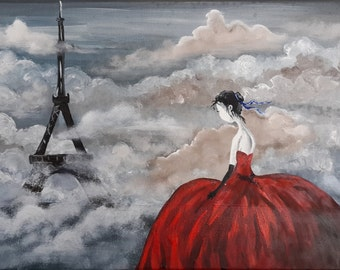 Lady in red dress in Pariz. Canvas,oil,50x35