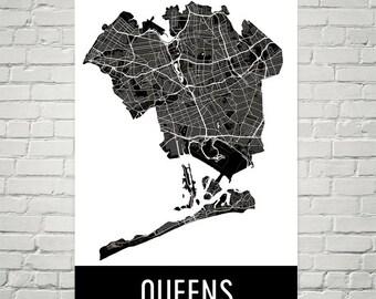 Queens Map, Queens Art, Queens Print, Queens NY Poster, Queens Wall Art, Queens Gift, Map of Queens, Queens Poster, Queens Decor, Modern